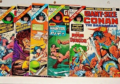 Conan The Barbarian #1,2,3,4,5 comic lot 1974 Giant Size High Grades!