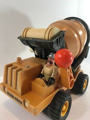 Vintage Fisher-Price Husky Helper Cement Truck #315 With Water Tank And Figure