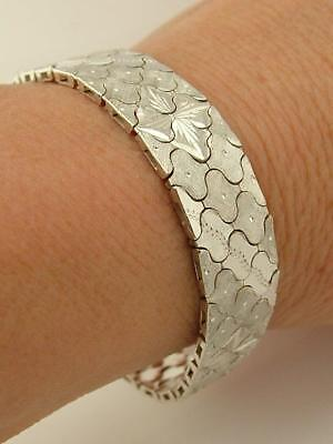 London Hallmarked Solid 925 Sterling Silver Heavy Flexible Riccio Gate Bracelet