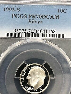 Silver Proof Roosevelt Dime. Graded By PCGS.    1992S PR70DCAM - Perfect!!