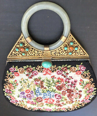 Vtg Art Deco Chinese Carved Jade Turquoise Petit Point Hand Embroidery Handbag