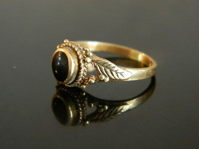 @@@ Antiker alter Ring 18 Jhundert Goldfarben Messing mit Onyx ? stein Gr.53 @@@