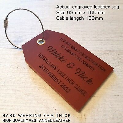 Personalised leather luggage tag travel wedding gifts holiday Mr & Mrs
