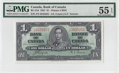 1937 BANK OF CANADA KGVI $1 **5555252** ~Consec 2 of 2~ (( PMG 55 EPQ ))