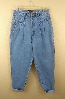 Vintage Womens Jeans Size 10 Forenza Mom Jeans High Waisted Light Wash Pleated