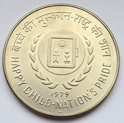 India 50 Rupees 1979 Happy Child Nations Pride Silver Coin