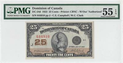 1923 DOMINION OF CANADA 25 CENTS **Campbell** (( PMG 55 EPQ ))