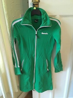 Bench Tracksuit Dress Zip Up Long Top Green Sport Size Small Retro