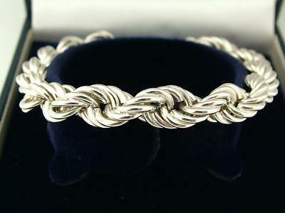 1994 Hallmarked Solid Sterling Silver Modernist Byzantine Twist Small Bracelet