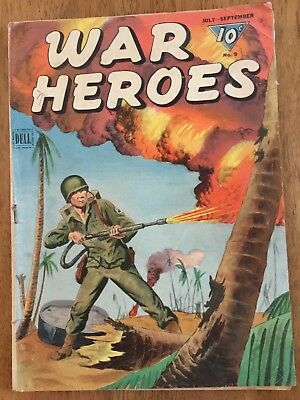 War Heroes #9 Flamethrower WWII Cover Dell Comic 1944 GD