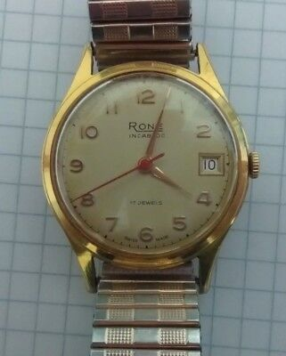 Mens Vintage Rone 17 jewel incabloc Date/Time Watch Swiss Made Gold Filled