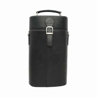 Piel Leather Unisex  Double Deluxe Wine Carrier 2285 Black Leather Size OSFA