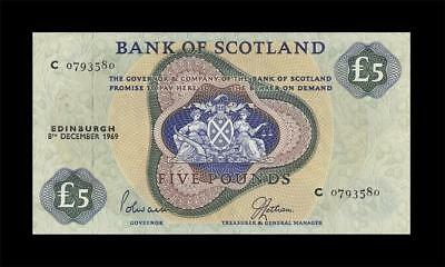 "8.12.1969 Bank Of Scotland 5 Pounds ""rare"" (( Ef ))"