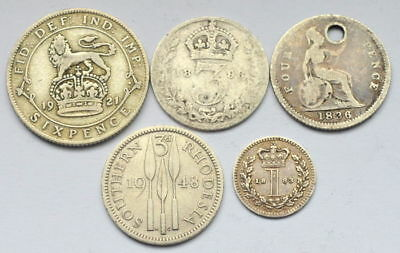 Great Britain Rhodesia 1, 3, 4, 6 Pence 1836-1948 Lot Of 5 Silver Coins