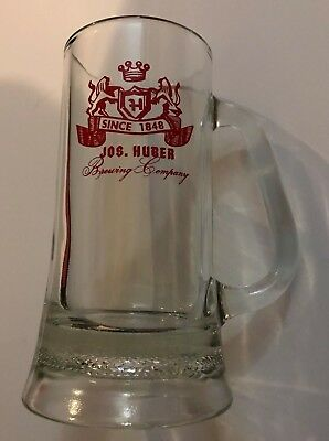 Vintage Joseph Huber beer glass - mug - Monroe, Wis. - sharp!