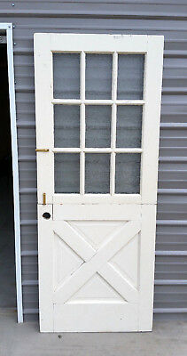 """Vintage Dutch Door 9 Pannel Rolled Plate Glass 75"""" 3/16 Tall by 32"""" Wide"""