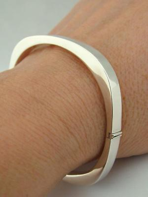 Fully Hallmarked Solid Sterling Silver Modernist Rectangle Bangle Bracelet Wjj