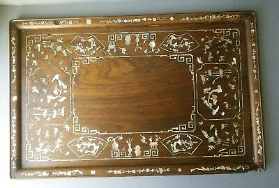 Chinese Mother of Pearl Opium Wood Tray. Length 61cm.