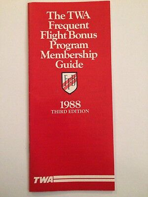 TWA Frequent Flight Bonus Program Brochure 1988