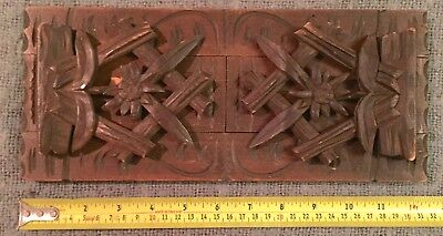 Rare Find Original Antique Hand Carved Black Forest Sliding Book Case C1880