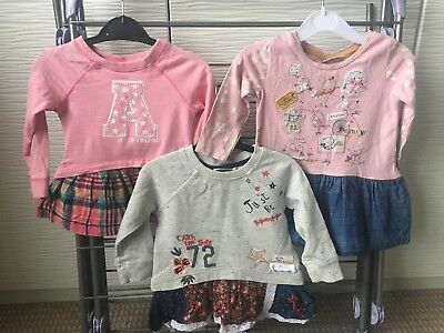 Bundle of Next 3 Girls Winter Dresses 6-9 Mths