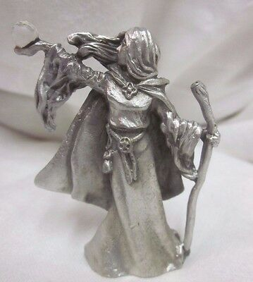 Fantasy Pewter Figure Gallo Fine FIGURINE Woman Girl Princess Crystal Ball Witch