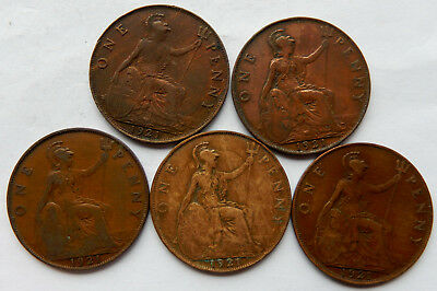 """1921 UK / Great Britain One Penny Coin """"Lot of 5 Coins"""" #3   SB5045"""