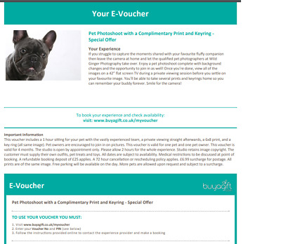 Pet Photoshoot with Complimentary Print & Keyring  Experience Buyagift evoucher