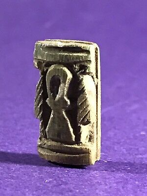Highly Unusual Circa 1075-332Bc Ancient Egyptian Key Of Life Bead W/hieroglyphs
