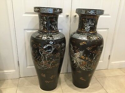 """2 LARGE VINTAGE VIETNAMESE LACQUER/MOTHER OF PEARL INLAID VASES. 1950's/60s. 43"""""""
