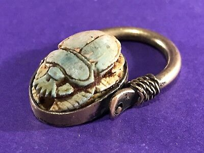 Circa 770-330Bc Ancient Egyptian Gold Gilded Swivel Ring With Scarab Bead Seal