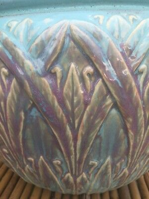 Arts and Crafts Style Ceramic Planter Pink And Turquoise Victorian Colors RARE