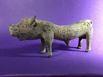 Gorgeous Circa 1200-800Bce Ancient Luristan Bronze Bull With Writing On Sides