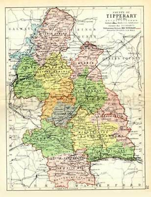 County Tipperary. 1897 Antique Irish Map of Tipperary - PRINT 8x10 - FREE P&P UK