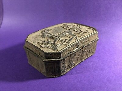 Circa 1250-1075 Bc- Ancient Egyptian Box W/hieroglyphic Story Box & Sphinx Inlay