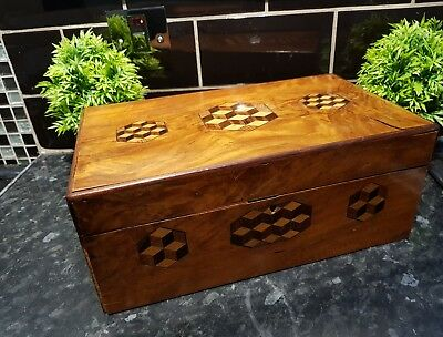 ANTIQUE Large inlaid wooden box , See photos