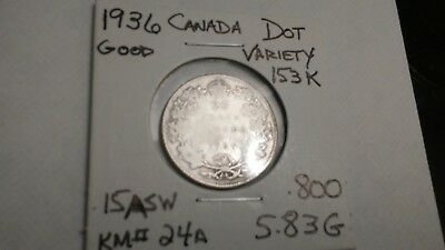 Much sought after 1936 dot variety 25 cents Canada