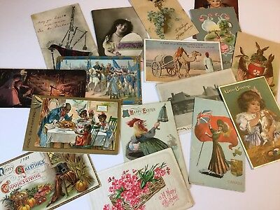 Lot of 16 Assorted Postcards Early 1900s Antique, Easter, Thanksgiving, Birthday