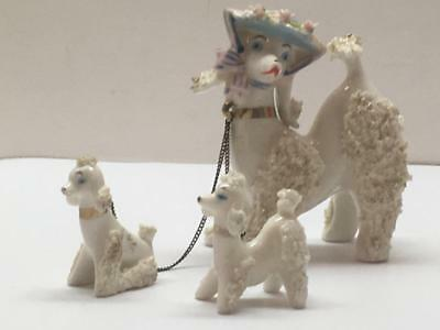 3 VTG 50's Spaghetti Porcelain Poodles Mother Sporting a Hat w/2 Pups Japan MCM