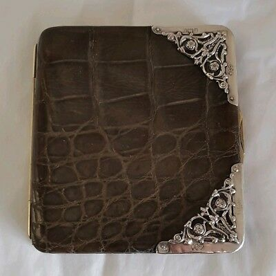 Edwardian crocodile skin rectangular wallet  stamp /card holder.Birmingham 1904