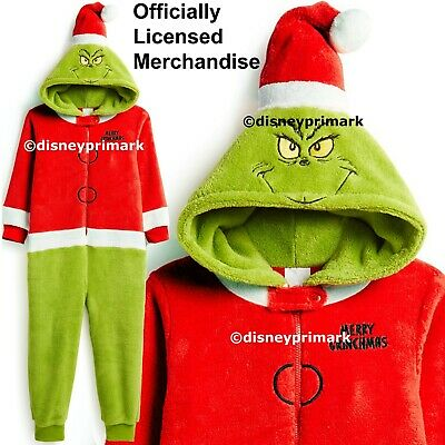 OFFICIAL THE GRINCH ONESY Boys Girls Christmas Child Pyjama Costume PJ Sleepsuit