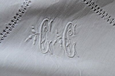 Antique French GC monogrammed pillow case, lace inserts and drawn thread work