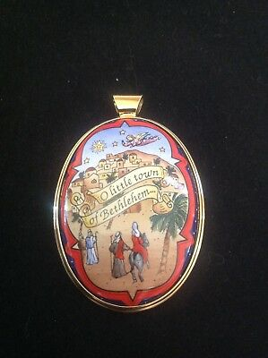 RARE MINT Halcyon Days Enamels CHRISTMAS MEDALLION ORNAMENT 1996 in box