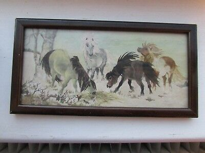 Vintage Hand Painted Water Colour Horse Picture Dated & Framed 1963