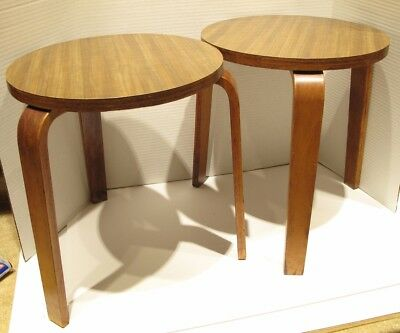 Rare Matched Pair Mid Century Alvar Aalto Tables / Stools Model 60 Artek 40s-50s