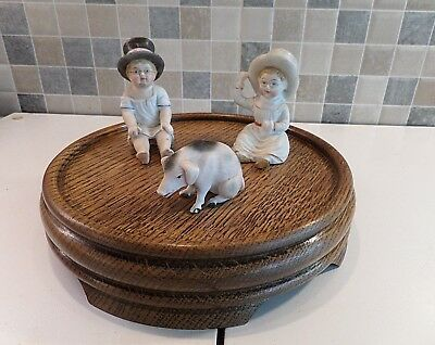 Antique Solid Oak Stand Ideal To Display Figurines & Also Accommodate Glass Dome