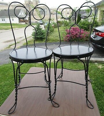 Lot of 2 Vintage Twisted Iron Ice Cream Parlor Bistro Chair Wood Seat