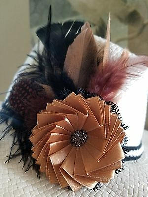 Brown fascinator satin flower Feathers Wedding Party Hat Accent   2 in1 clip