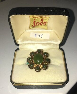 Flower Jade Ring - Chinese Antique From The 1970s (Size 6)