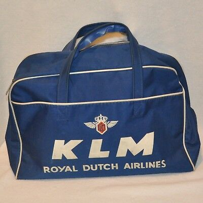 Vintage KLM Royal Dutch Airlines Travel Bag Tote Carry On Overnight Flight